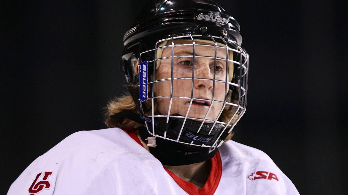 University of Calgary Dinos' Hayley Wickenheiser takes part in the pre-game skate prior to playing the University of British Columbia Thunderbirds in a CIS women's hockey game in Vancouver on Jan. 15, 2011.