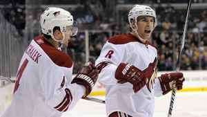 Phoenix Coyotes right wing Scottie Upshall, right, celebrates his goal with defenceman Zbynek Michalek during the first period of their NHL hockey game the Los Angeles Kings, Dec. 10, 2009, in Los Angeles.