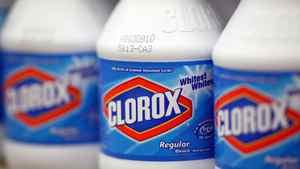 Bottles of Clorox bleach.