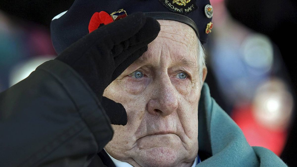Allan Tanner, 85, salutes at the Remembrance Day ceremonies at the Grande Parade in Halifax.