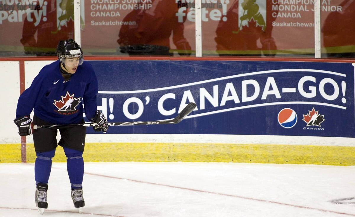 Canadian junior Taylor Hall, from the Windsor Spitfires, waits for his turn in a drill Sunday.