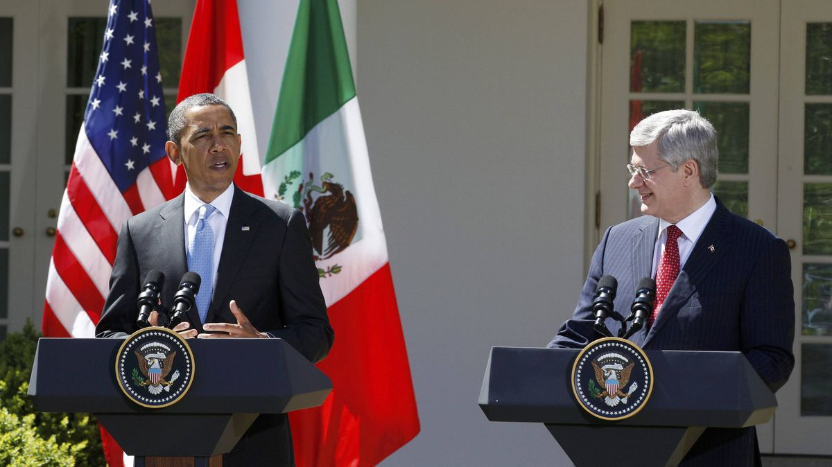 U.S. President Barack Obama and Canada's Prime Minister Stephen Harper are seen during a press conference in the Rose Garden of the White House in Washington, April 2, 2012.