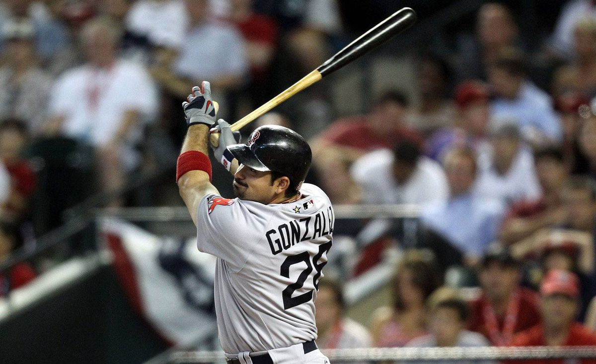 American League All-Star Adrian Gonzalez #28 of the Boston Red Sox hits a home run in the fourth inning of the 82nd MLB All-Star Game at Chase Field on July 12, 2011 in Phoenix, Arizona.