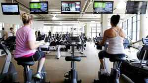 Zoom Media used Nielsen Research to find out who was watching its ads in gyms, in an effort to help advertisers target their commercials at a specific audience. Above, a Toronto fitness club with ad screens from Zoom Media, April 5, 2012.