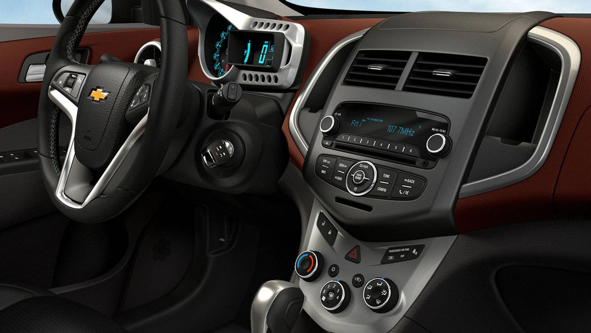 Interior of the 2012 Chevrolet Sonic.