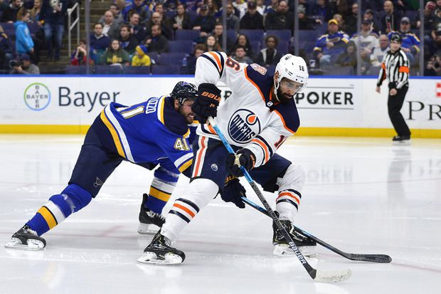 Blues' Dunn fined $1942 for cross-check to Oilers' Khaira