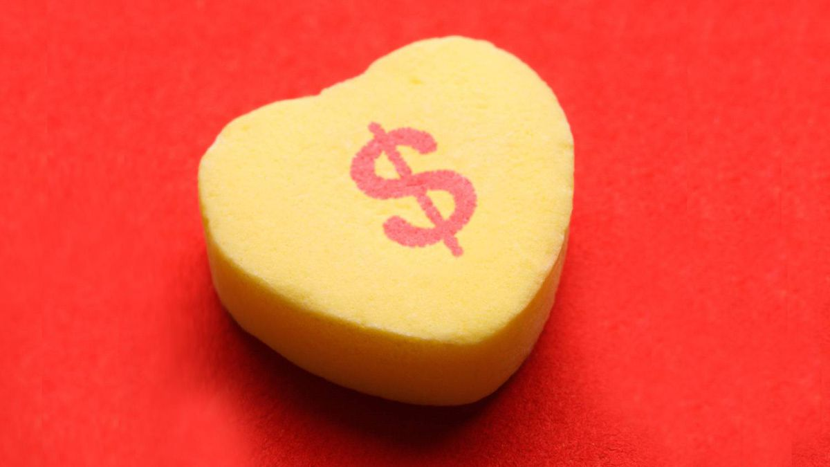 Candy heart with dollar sign