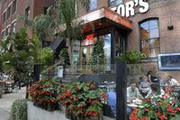 The busy patio of Jack Astor's restaurant in downtown Toronto.