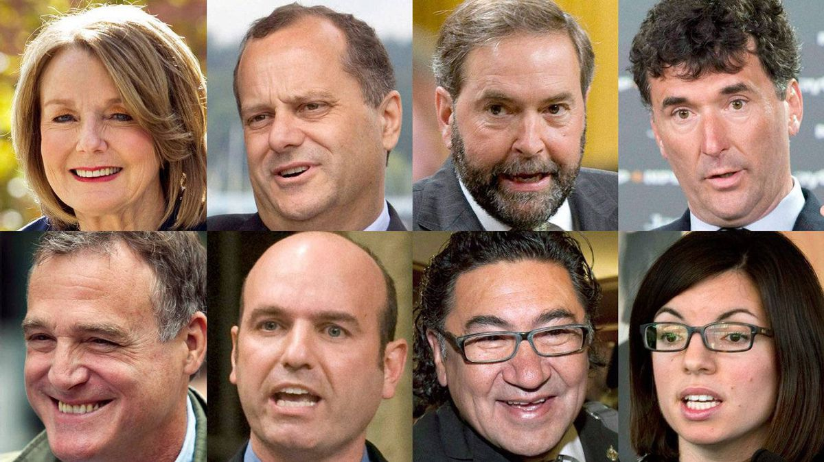 From top left, eight of the nine contenders running to succeed Jack Layton as NDP leader are shown in a photo combination: Peggy Nash, Brian Topp, Thomas Mulcair, Paul Dewar, Robert Chisholm, Nathan Cullen, Romeo Saganash and Nikki Ashton. Not pictured: Martin Singh.