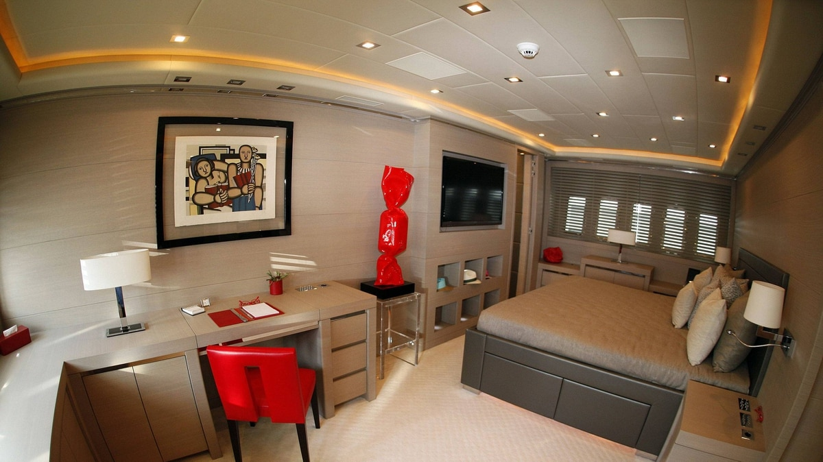 The master bedroom of a Mangusta model 130#19 is seen during the 22nd Monaco Yacht show, September 21, 2011. Luxury boats are moored for the Monaco Yacht Show, which is the world's leading prestige boat show.