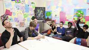 Blake Spence, left, leads a sexual education class at Georges P. Vanier junior high in Calgary.