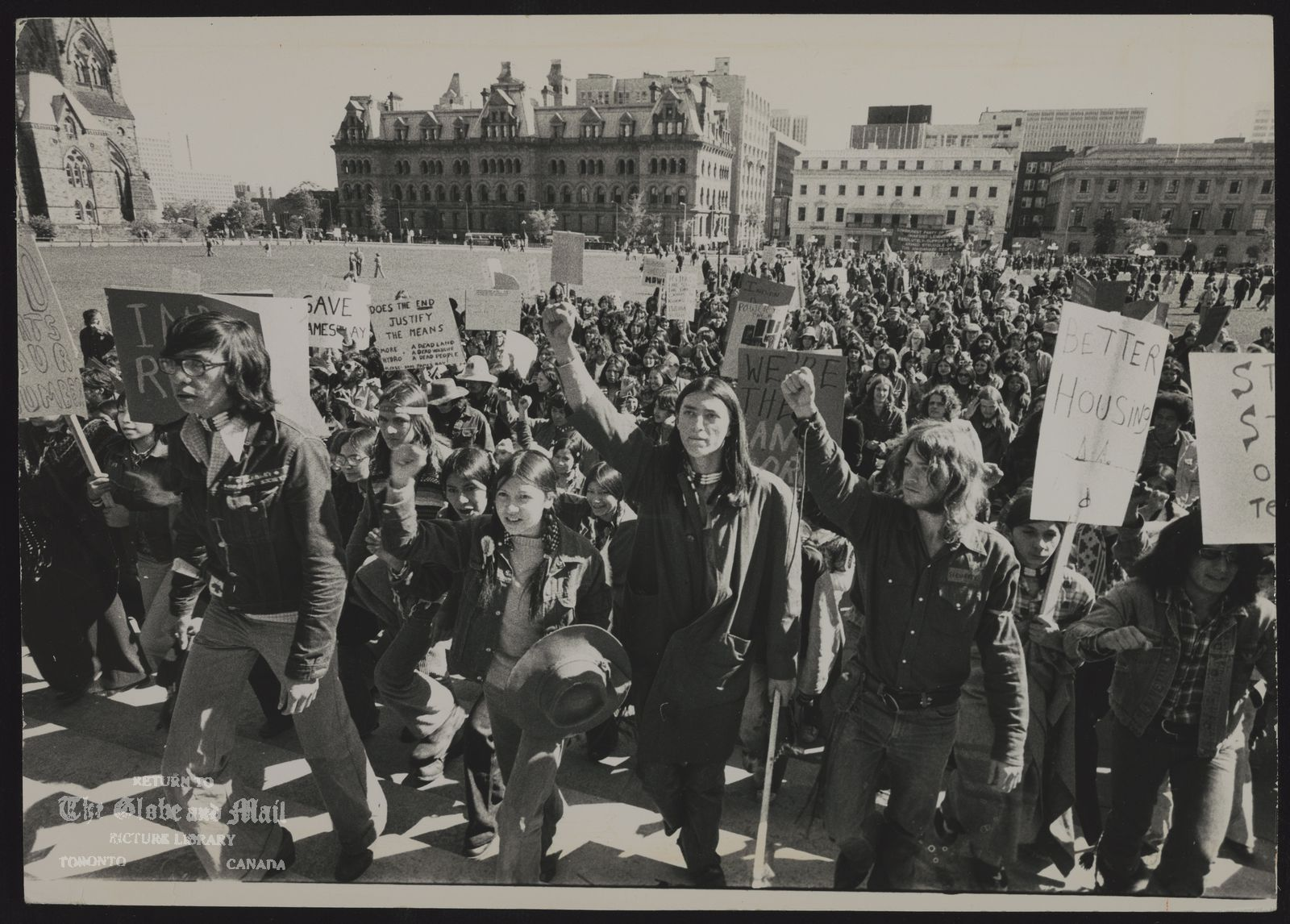 INDIANS Canada Fighting broke out when demonstrators, marching up steps of Parliament Buildings, tried to break: through police lines positioned at entrance.