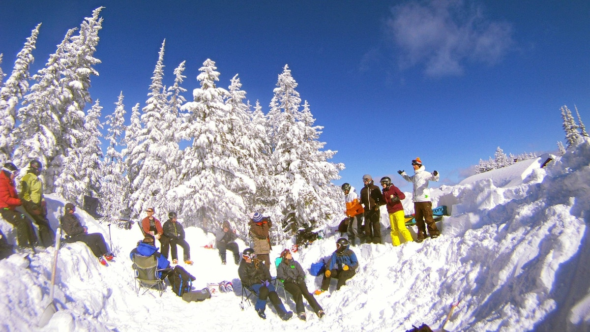 Turner Mountain - taking a break in the mountain top snow pit.