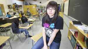 Grade 10 student Bailey Martell (Cree) at the Waweyekisik Educational Centre at Waterhen Lake First Nations on March 1, 2012.