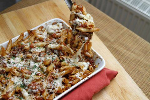 Baked pasta with sausages and tomato sauce