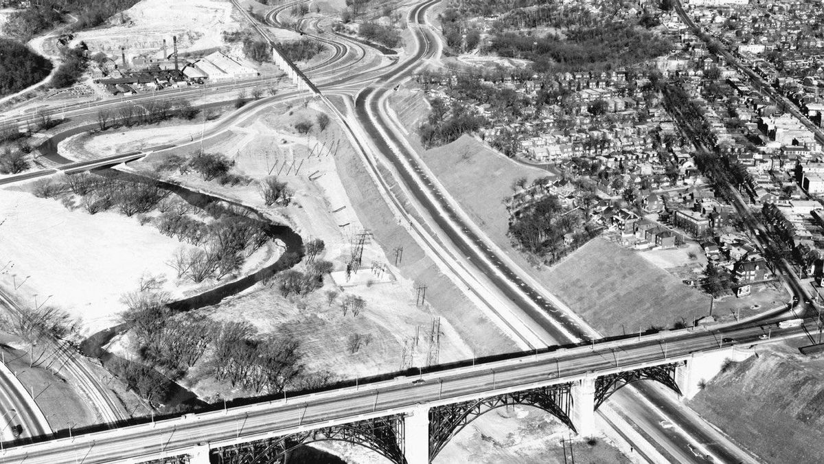 View of the Bloor Street Viaduct from above taken December, 1960.