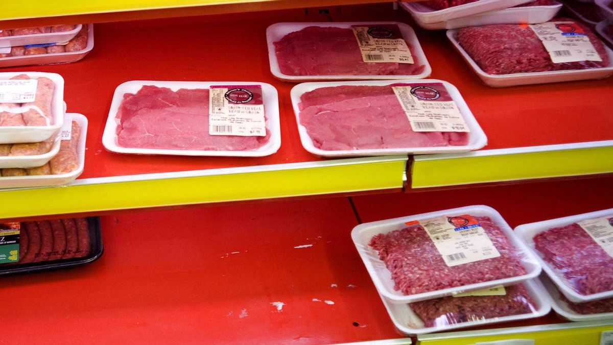 Photograph of freezer shelves with less number of meat products in a August 2008 file photo. The public is being warned to check all ground beef products in their freezers as a growing country-wide recall due to possible E.coli contamination affects a number of brands.