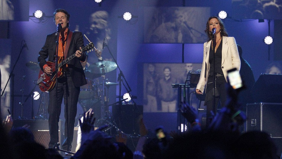 Sarah McLachlan performs with Jim Cuddy from Blue Rodeo at the Juno Awards in Ottawa, Sunday April 1, 2012.
