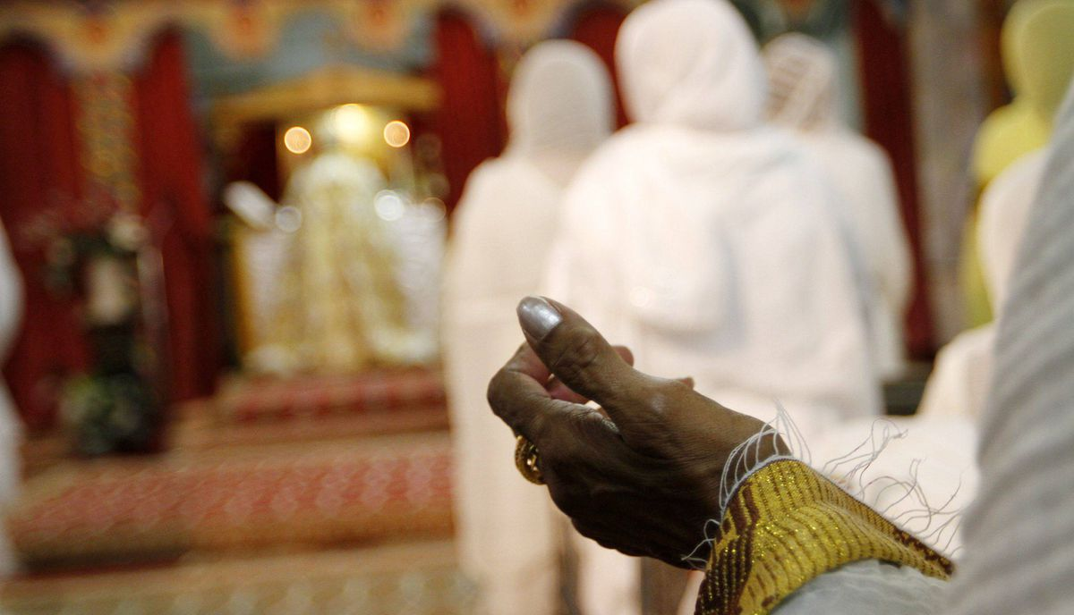 Members of the Ethiopian Community from GTA take part on the celebration of Ethiopian Easter, or Fasika, at the St. Mary's Ethiopian Orthodox church on Tycos Drive, Toronto April 14, 2012.