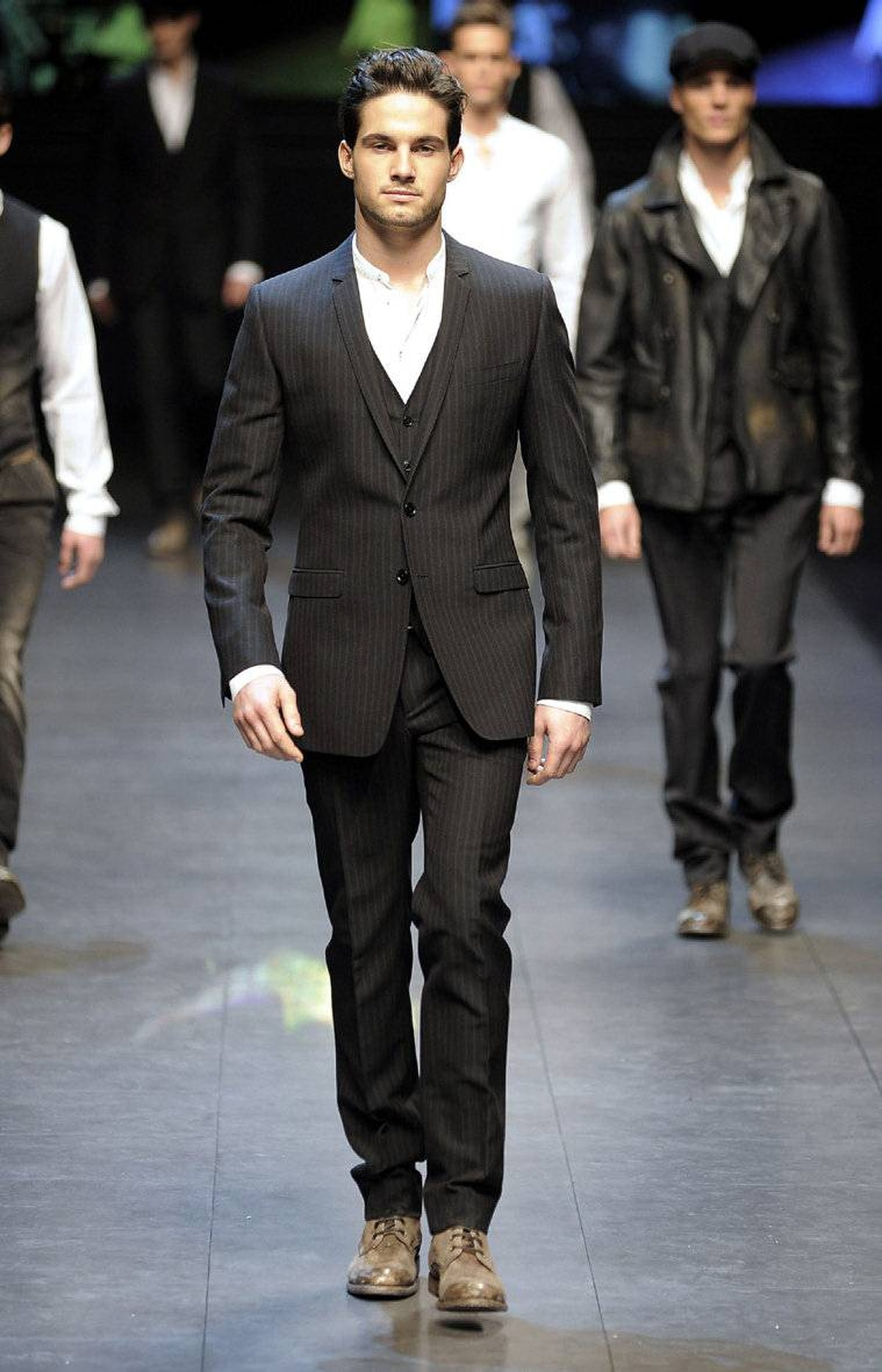 Three-piece suit on the runway