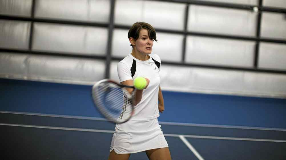 Dr. Jennifer Gardy plays tennis at the University of British Columbia Tennis Club in Vancouver.