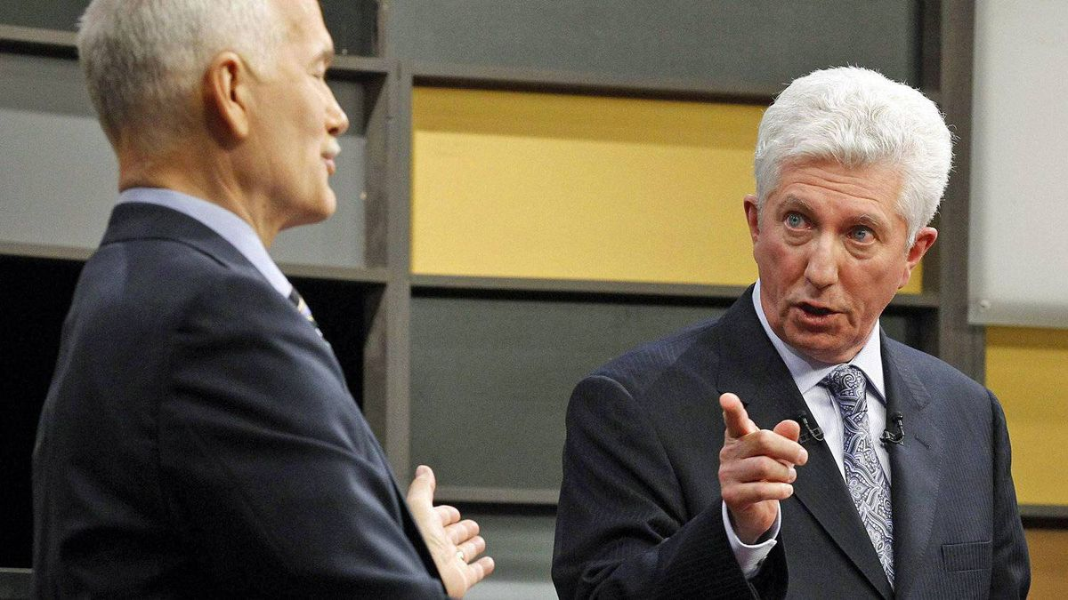 Bloc Quebecois Leader Gilles Duceppe spars with NDP chief Jack Layton during the French-language leader's debate in Ottawa on April 13, 2011.
