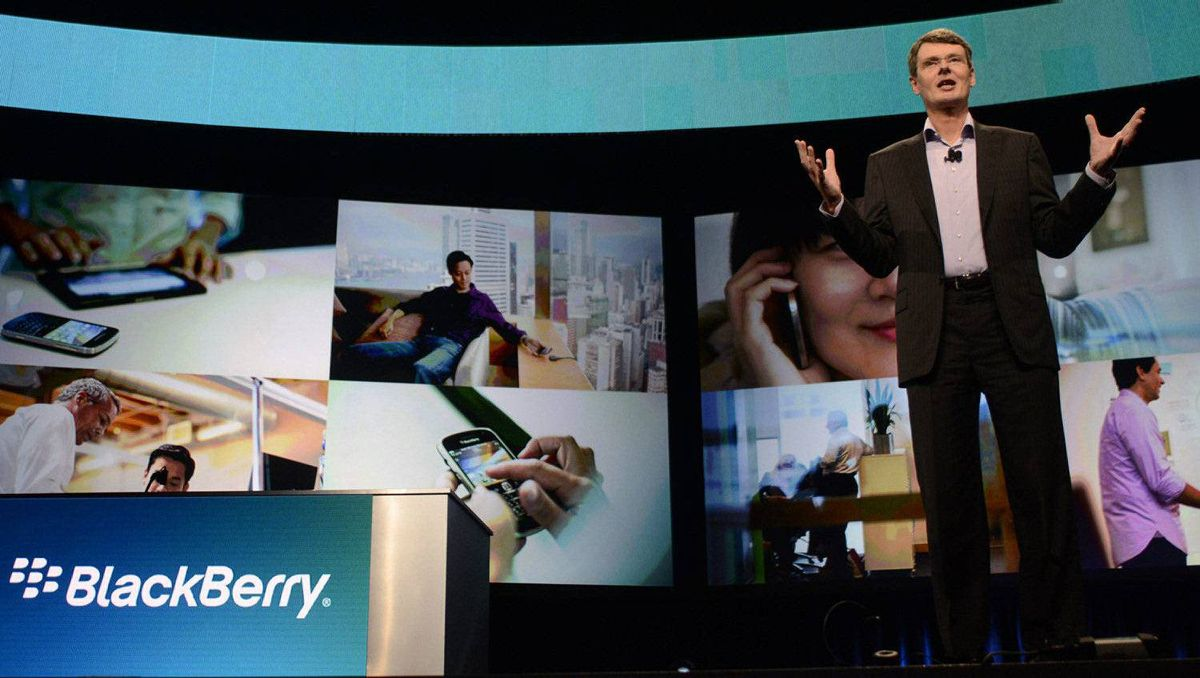 Research in Motion Chief Executive Officer Thorsten Heins speaks at the BlackBerry World event in Orlando May 1, 2012 . Research in Motion is set to launch a new generation of BlackBerry 10 smartphones later this year while continuing to lose market share to Apple's iPhone and Android devices.