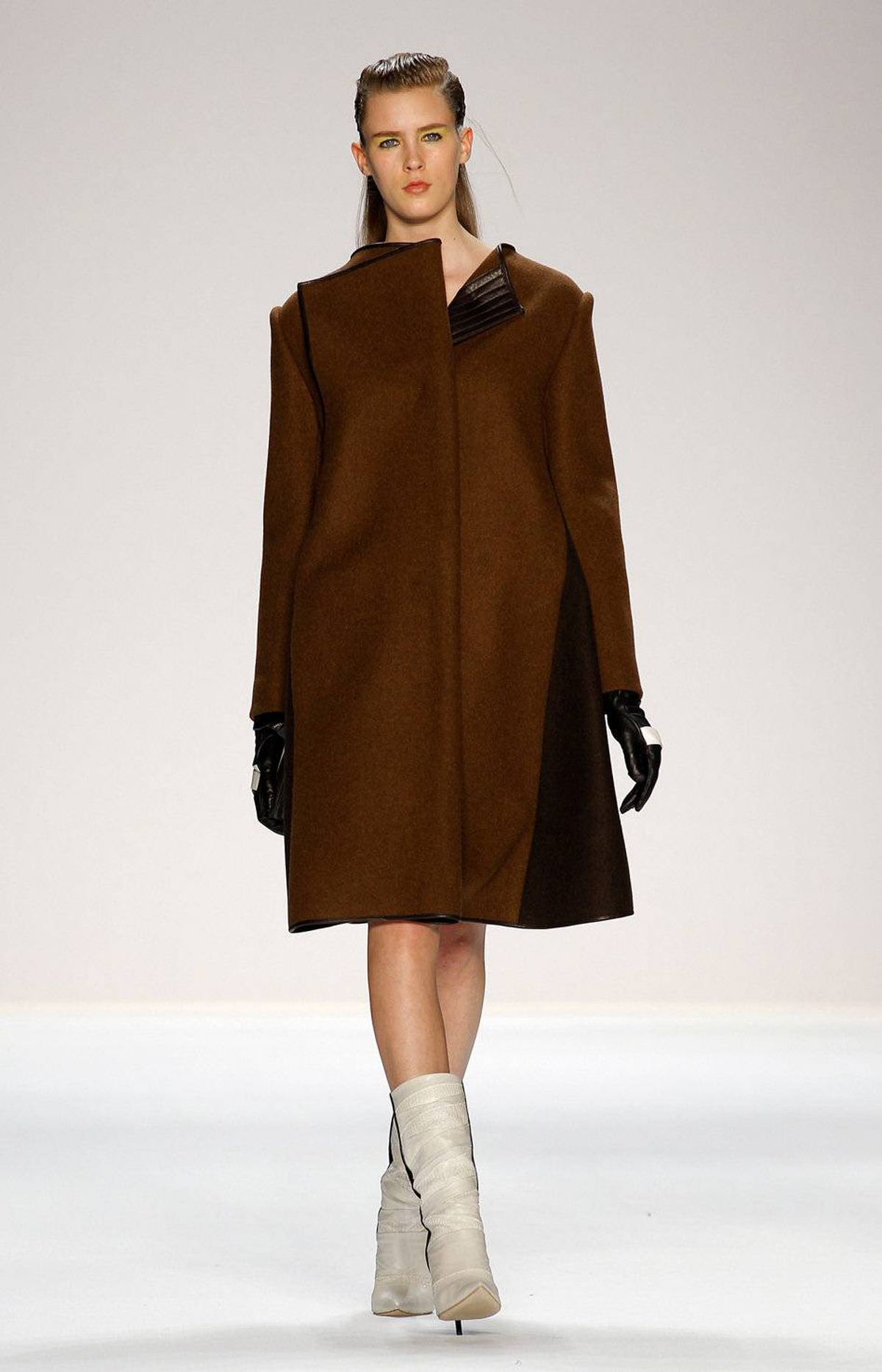 Distinctively formed coats were the standout element from Narciso Rodriguez' show. Such is his skill with fabrics that they almost appeared buttressed or propped up from underneath.