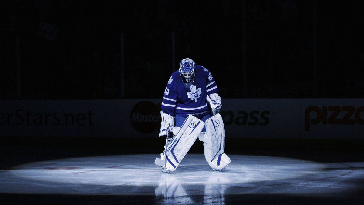 Toronto Maple Leafs' goalie Jonas Gustavsson is seen in the pre-game spotlight during player introductions before a game against the Philadelphia Flyers in Toronto, March 10, 2012. Gustavsson is finishing a 2-year deal worth 2.75-million dollars.