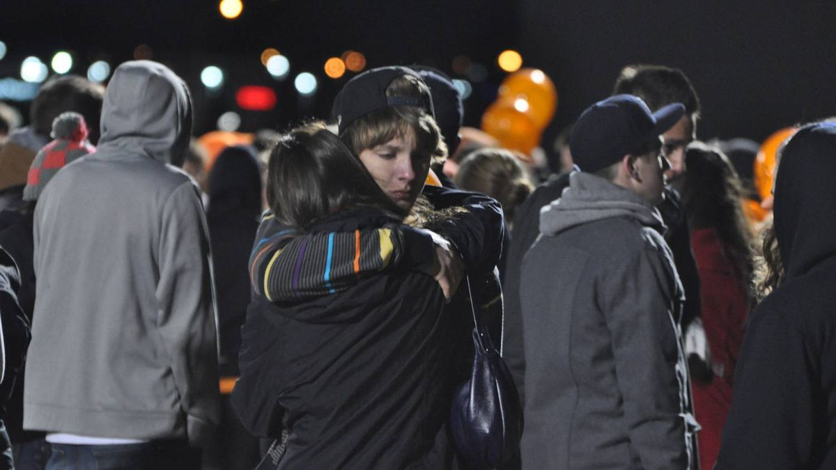 A memorial service on Oct. 23, 2011, held for five members of the Grande Prairie Composite High School football team killed and one critically injured in a car crash.