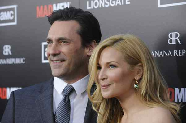 "Cast member Jon Hamm (L) and actress Jennifer Westfeldt attend a premiere screening of season five of the AMC series ""Mad Men"" in Los Angeles March 14, 2012."