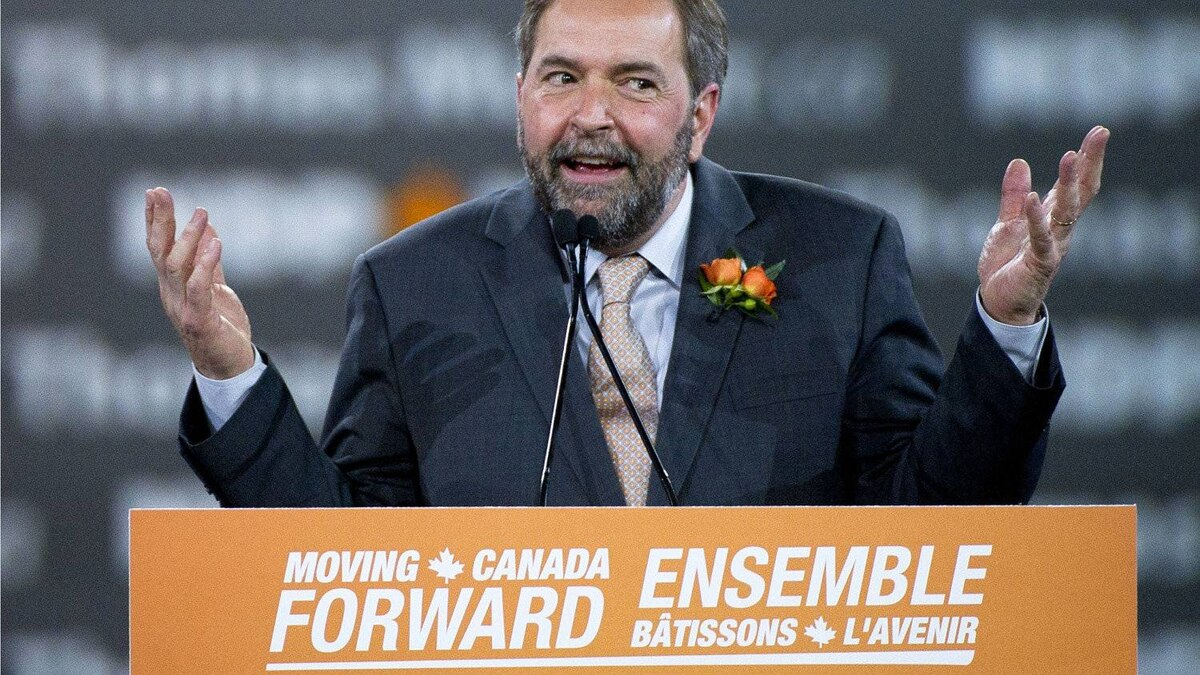 Candidate Thomas Mulcair speaks at the NDP leadership convention at the Metro Toronto Convention Centre in Toronto, Ont. Friday, March 23, 2012.