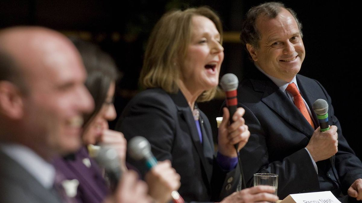 NDP leadership candidate Brian Topp, right, smiles alongside fellow debaters (l-r) Nathan Cullen, Nikki Ashton and Peggy Nash during a leadership debate at Concordia Loyola Campus in Montreal, Wednesday, January 25, 2012.