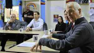 NDP Leader Jack Layton discusses his party's anti-gang strategy in Surrey, B.C., on April 7, 2011.