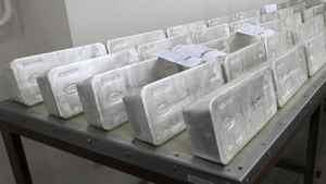 Ingots of 99.99 percent pure silver.