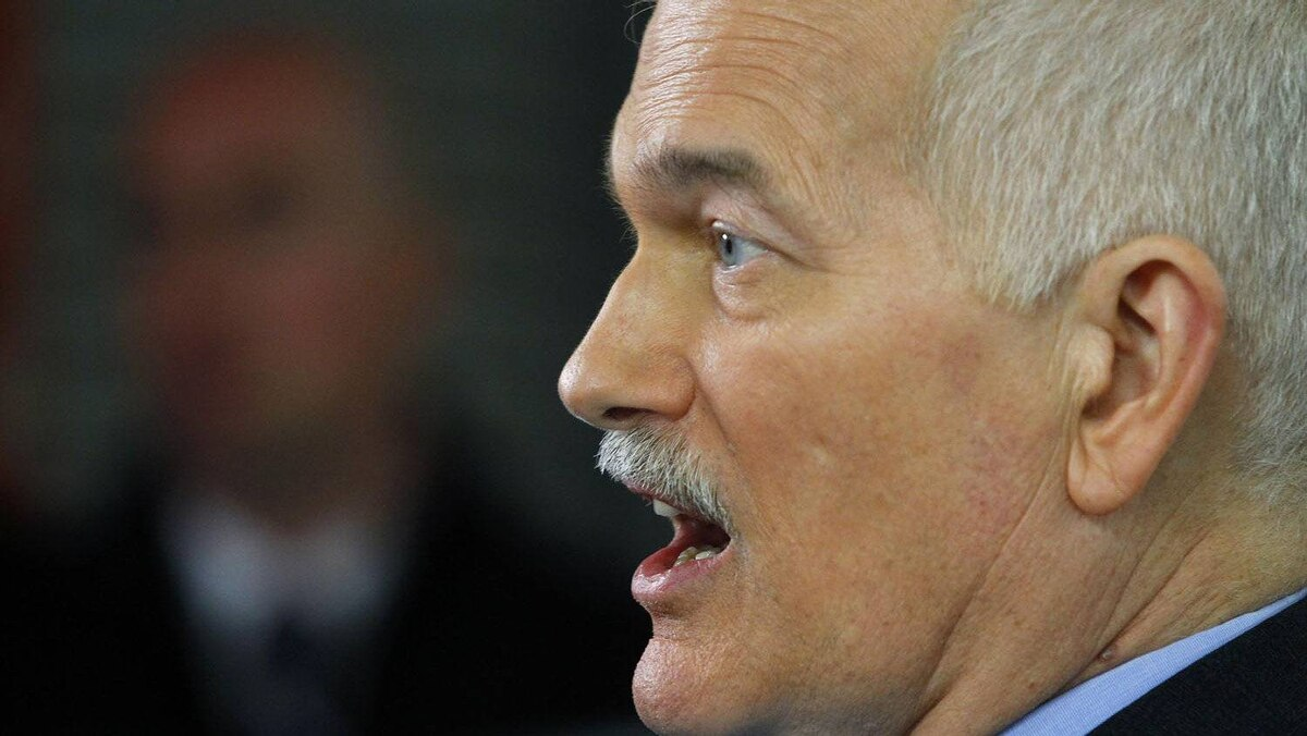 NDP Leader Jack Layton campaigns in Montreal.