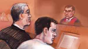 Filmmaker Mark Twitchell, centre, is shown in courtroom sketch with his defence lawyer Charles Davison on Wednesday March 16, 2011.