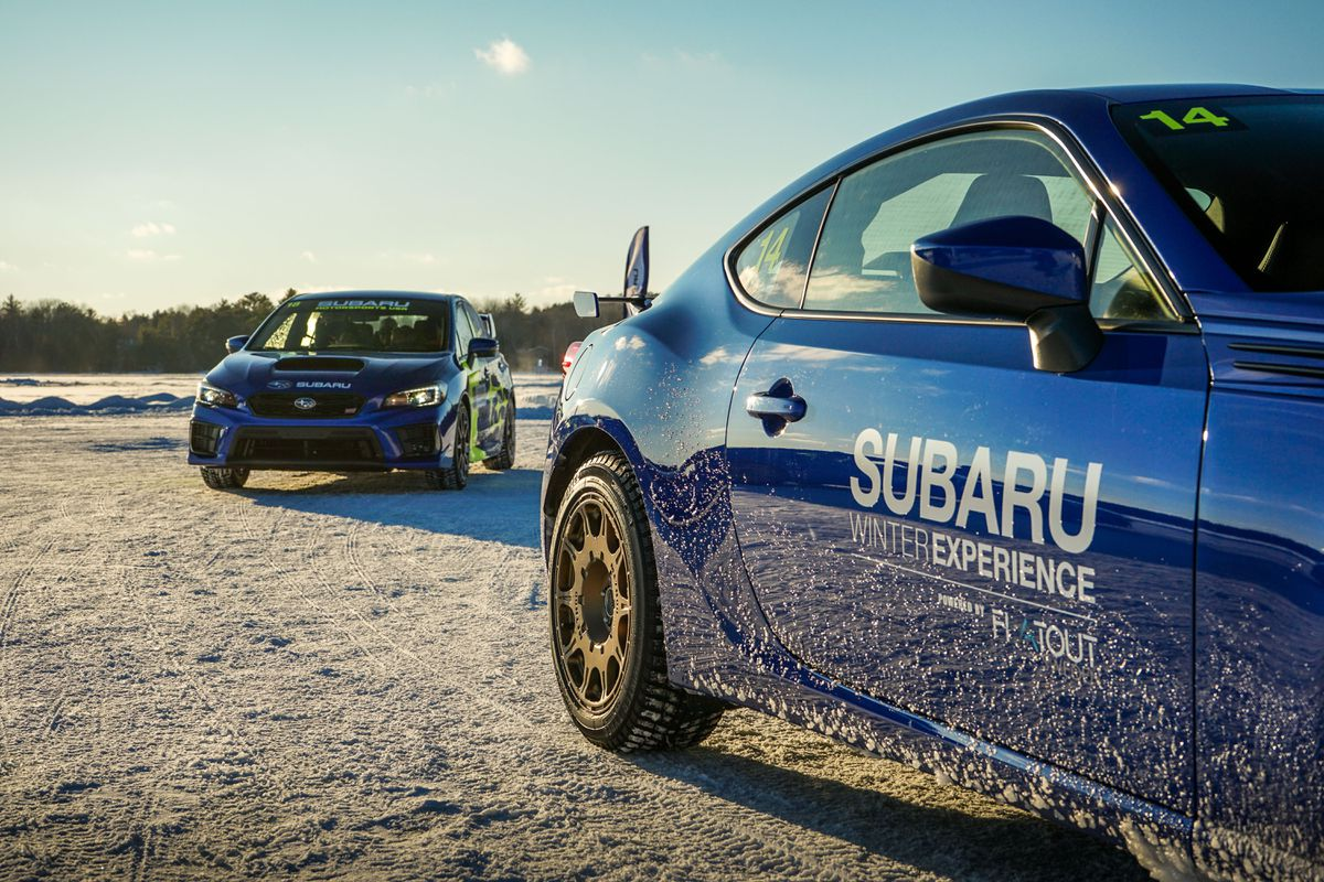 A fleet of Subarus and a frozen lake: A match made in winter-driving heaven