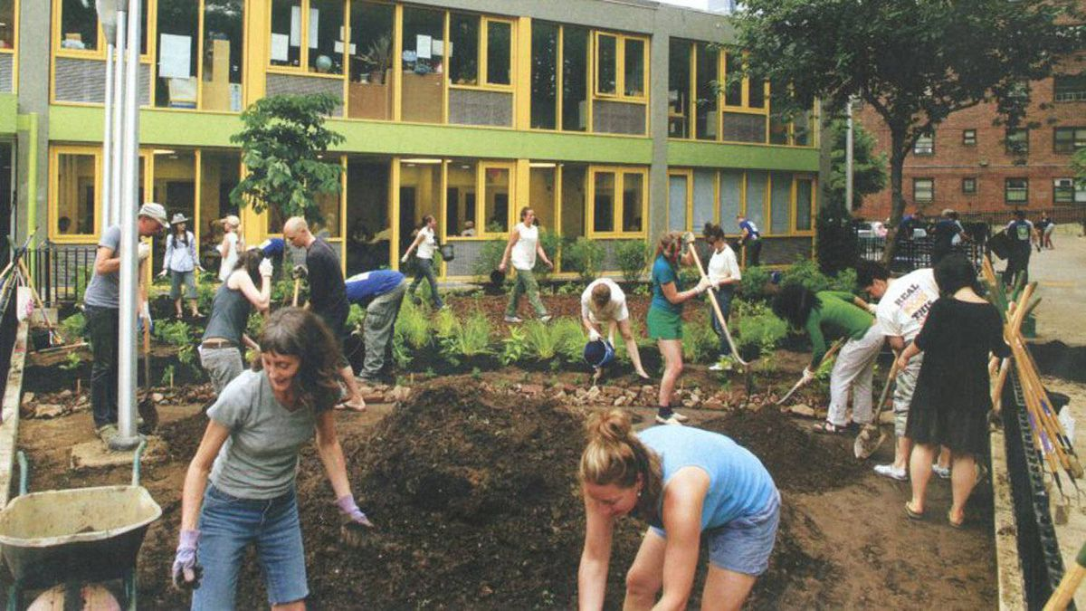 The Lenape Edible Estate in Manhattan during planting by residents.