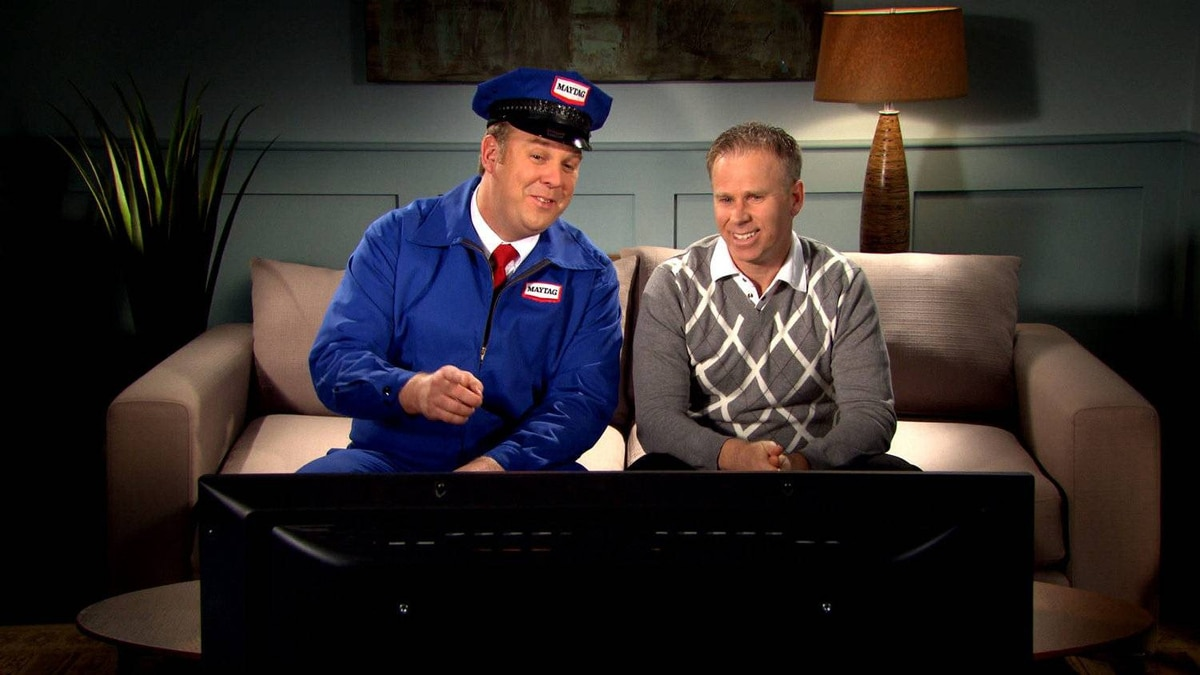 "The Maytag repairman appears in a promotional spot alongside comedian Gerry Dee, star of CBC show Mr. D, in order to advertise ""Maytag Mondays"" on the network."