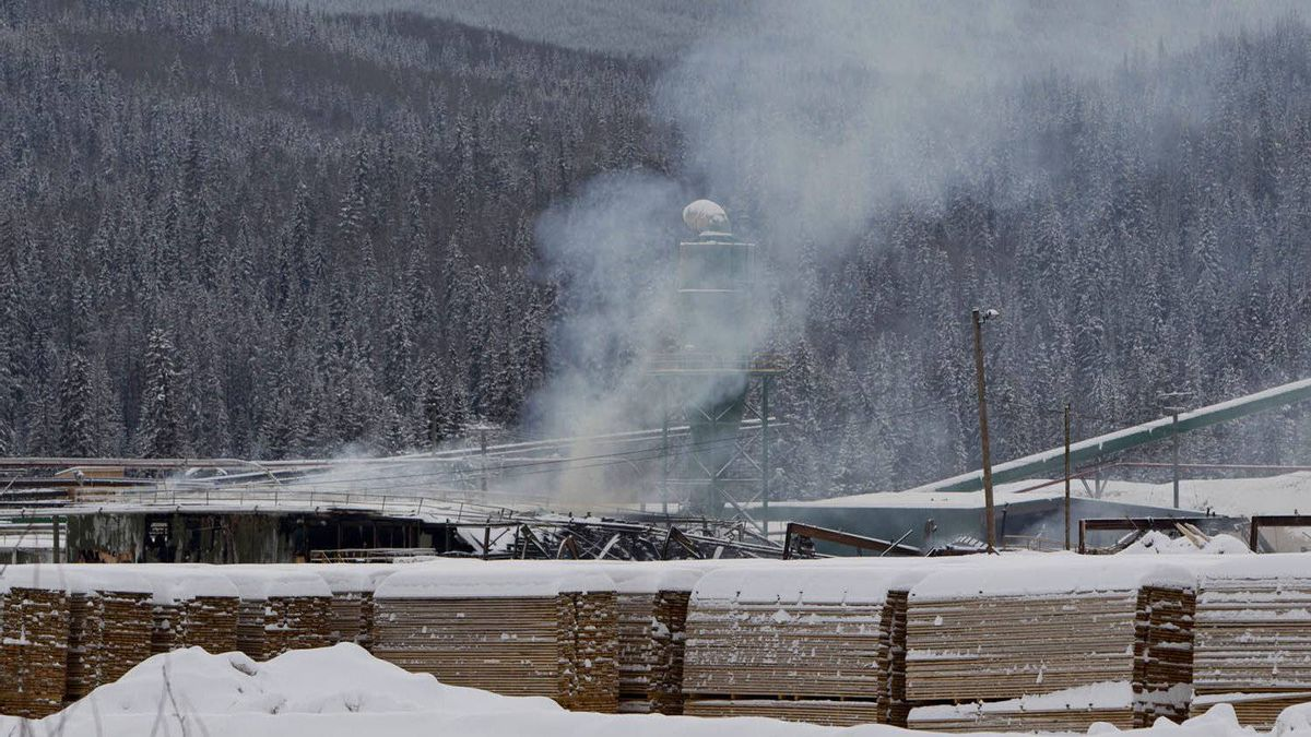 Smoke rises from the Abine Forest Products mill in Burns Lake, B.C. Saturday, Jan. 21, 2012.