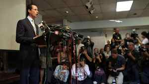 """Mr. Weiner said he initially hoped to continue his work but then realized """"the distraction that I have created has made that impossible."""""""