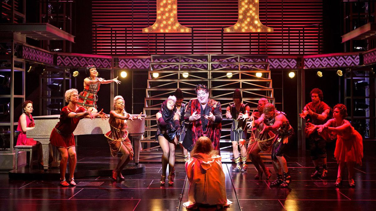 Bruce Dow (centre) as King Herod with members of the company in Stratford's Jesus Christ Superstar.