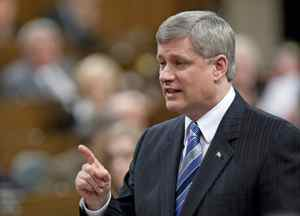 Prime Minister Stephen Harper fires back at the opposition during Question Period in the House of Commons on March 8, 2010.