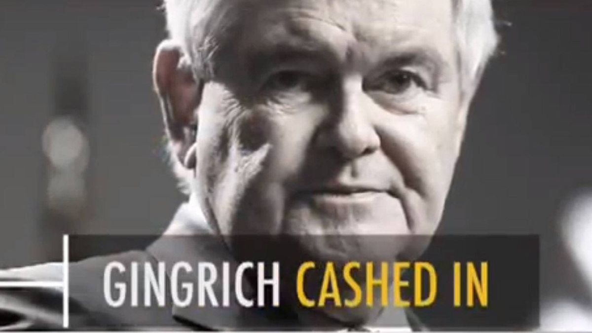 A scene from a video ad critical of New Gingrich, paid for by a Super Pac that supports Mitt Romney.