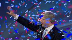 Prime Minister Stephen Harper on stage in Calgary May 2, 2011 after Canadians went to the polls in the federal election.