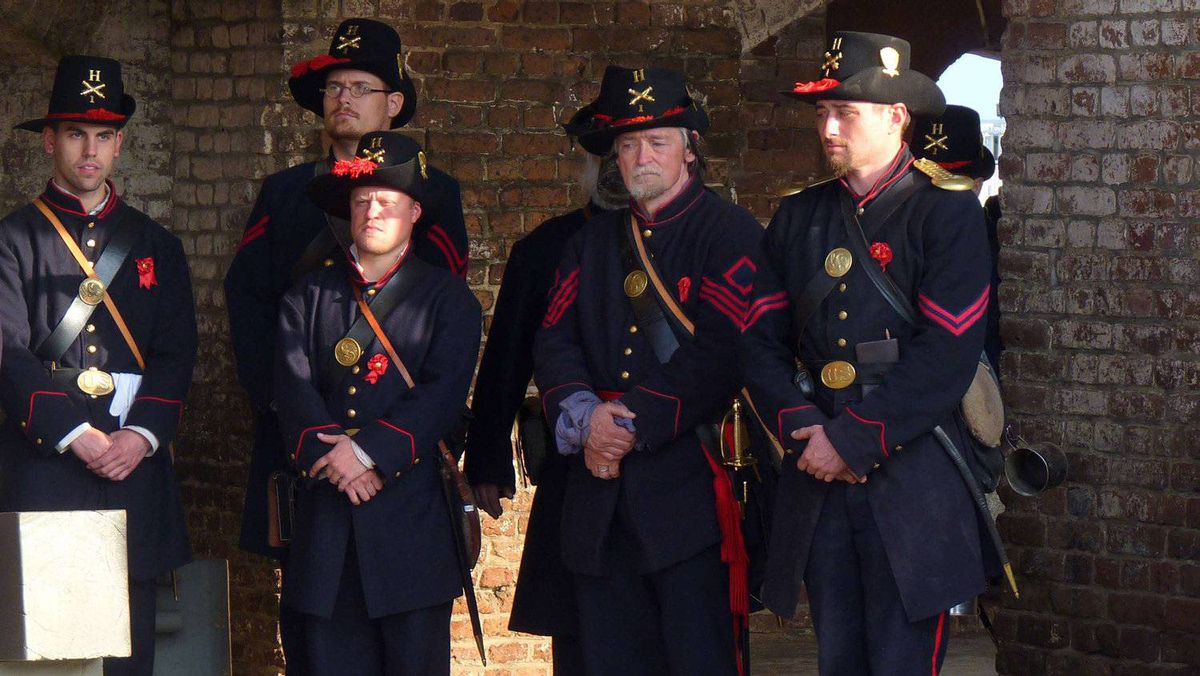 Union re-enactors, under the command of Major Robert Anderson, at Fort Sumter, Charleston, S.C., April 12, 2011.