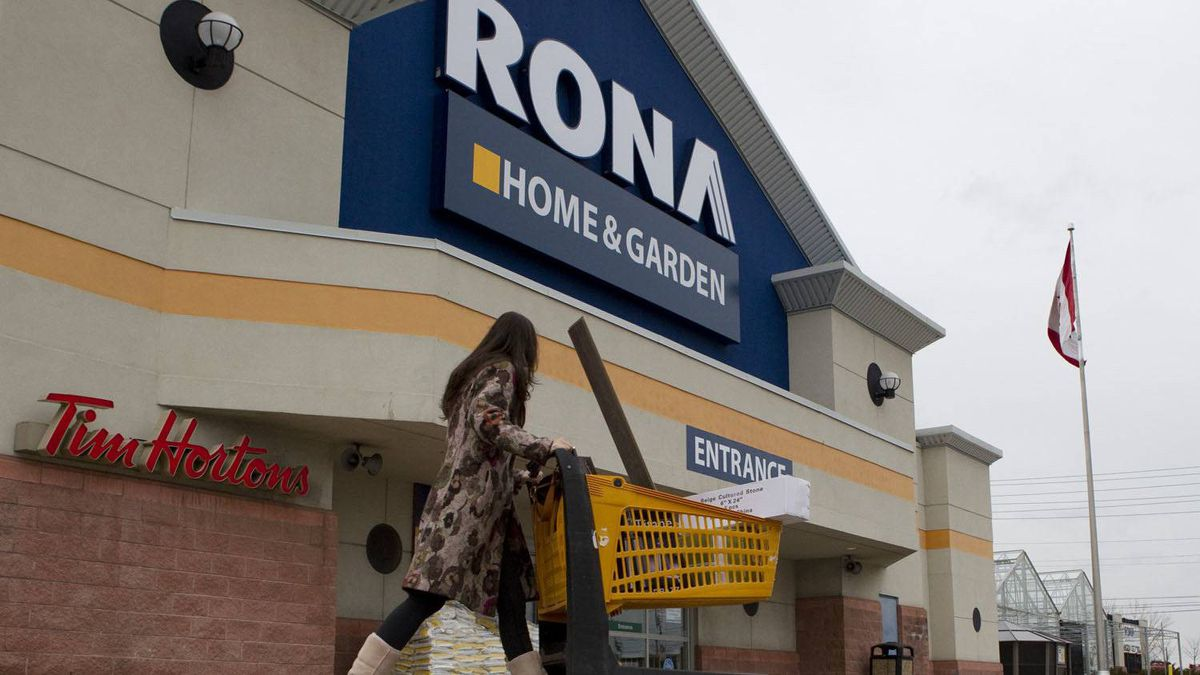 An unidentified customer walks out of a Rona store in Toronto's east end, Feb. 22, 2012.