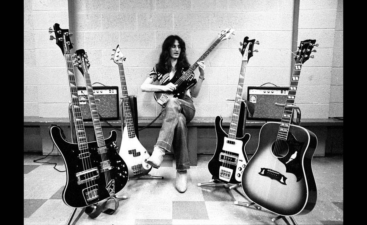 Geddy Lee takes some licks in an image from the documentary Rush: Beyond the Lighted Stage.