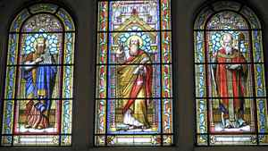 Stained glass windows at Saint-Nom-de-Jésus, or Holy Name of Jesus, church in Montreal.